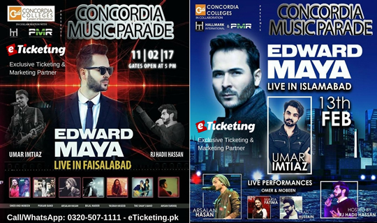 Edward Maya in Islamabad, Karachi, Lahore and Faisalabad